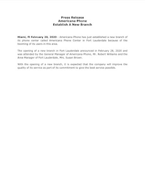 Branch Opening Press Release Sample
