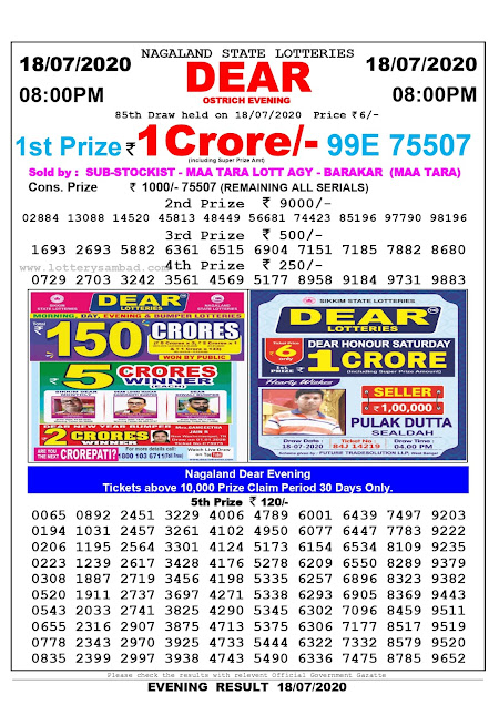 Nagaland State Lottery Sambad 18-07-2020 Today Result 8 PM