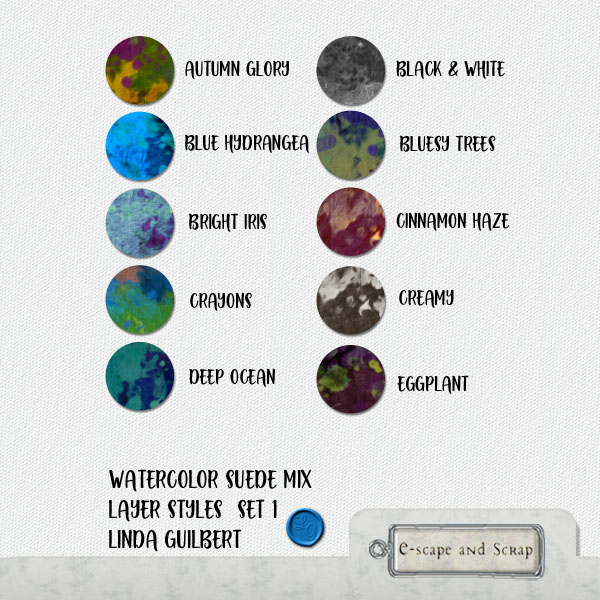 FREEbie: Watercolor Suede Mix Layer Styles for Photoshop Users from Linda Guilbert