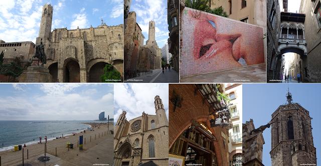 Viaje a Barcelona: Plaza de Ramón Berenguer, muralla romana, mural de la libertad, playa de la Malvarosa, Catedral del Mar, Los cuatro gatos, gárgola-Unicornio de la catedral