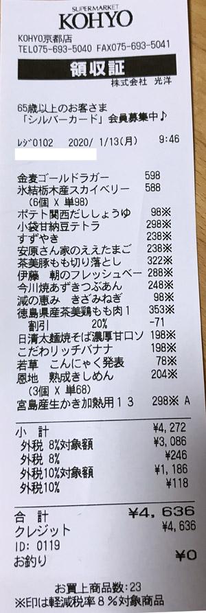 KOHYO 京都店 2020/1/13 のレシート