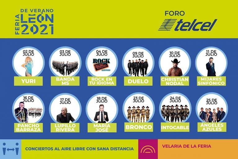 Feria de Leon Verano 2021 Conciertos en cartelera