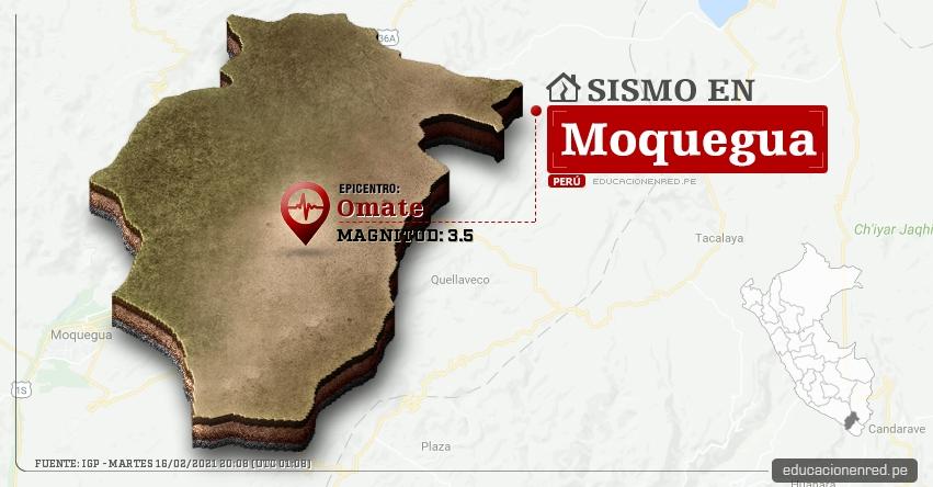 Temblor en Moquegua de Magnitud 3.5 (Hoy Martes 16 Febrero 2021) Sismo - Epicentro - Omate - General Sanchez Cerro - IGP - www.igp.gob.pe