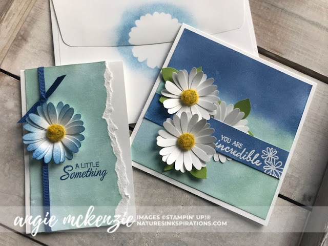 By Angie McKenzie for Nature's INKspirations Tips for Technique Tuesday; Click READ or VISIT to go to my blog for details! Featuring: Faux Oxide technique, Torn Edges technique, Royal Peacock stamp set, Parcels and Petals stamp set, Medium Daisy Punch, Stampin' Up papers and inks; #fauxoxidetechnique #tornedgestechnique #sponging #stampingtechniques #cardtechniques #royalpeacock #parcelsandpetals #mediumdaisypunch