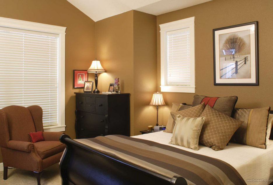 Light brown walls in master bedroom