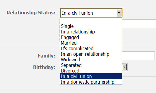 what is civil union relationship on facebook