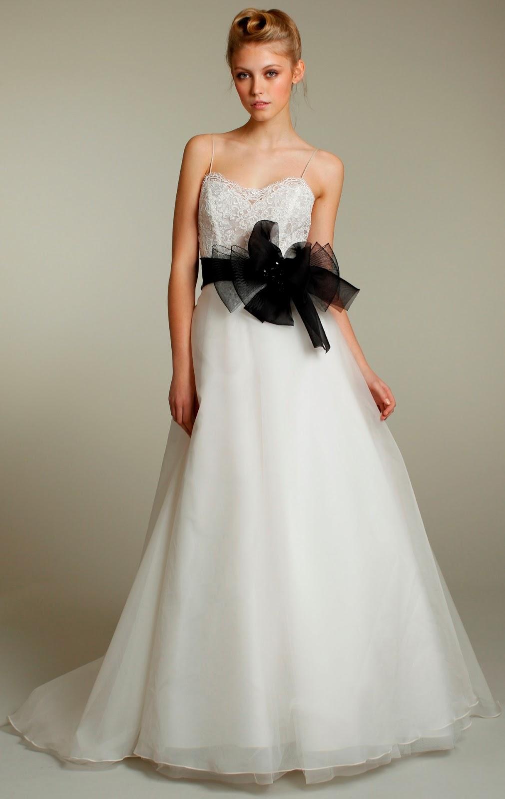 A line+Wedding+Dress+with+Black+Sash+and+Spaghetti+Straps - Wedding Dress Sash
