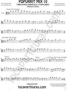 Mix 10 Partitura de Viola Himno de la Alegría Oh When the Saints, Sirena, Reloj y La Granja del Tio Gilito Popurrí Mix 10 Sheet Music for Viola Music Score
