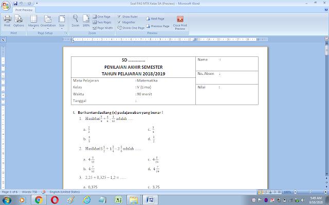 Soal ujian semester 1 matematika kelas 5 sd/mi