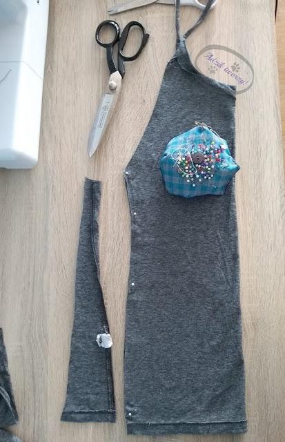 jak uszyć top wiązany na szyi DIY z męskiego t-shirtu
