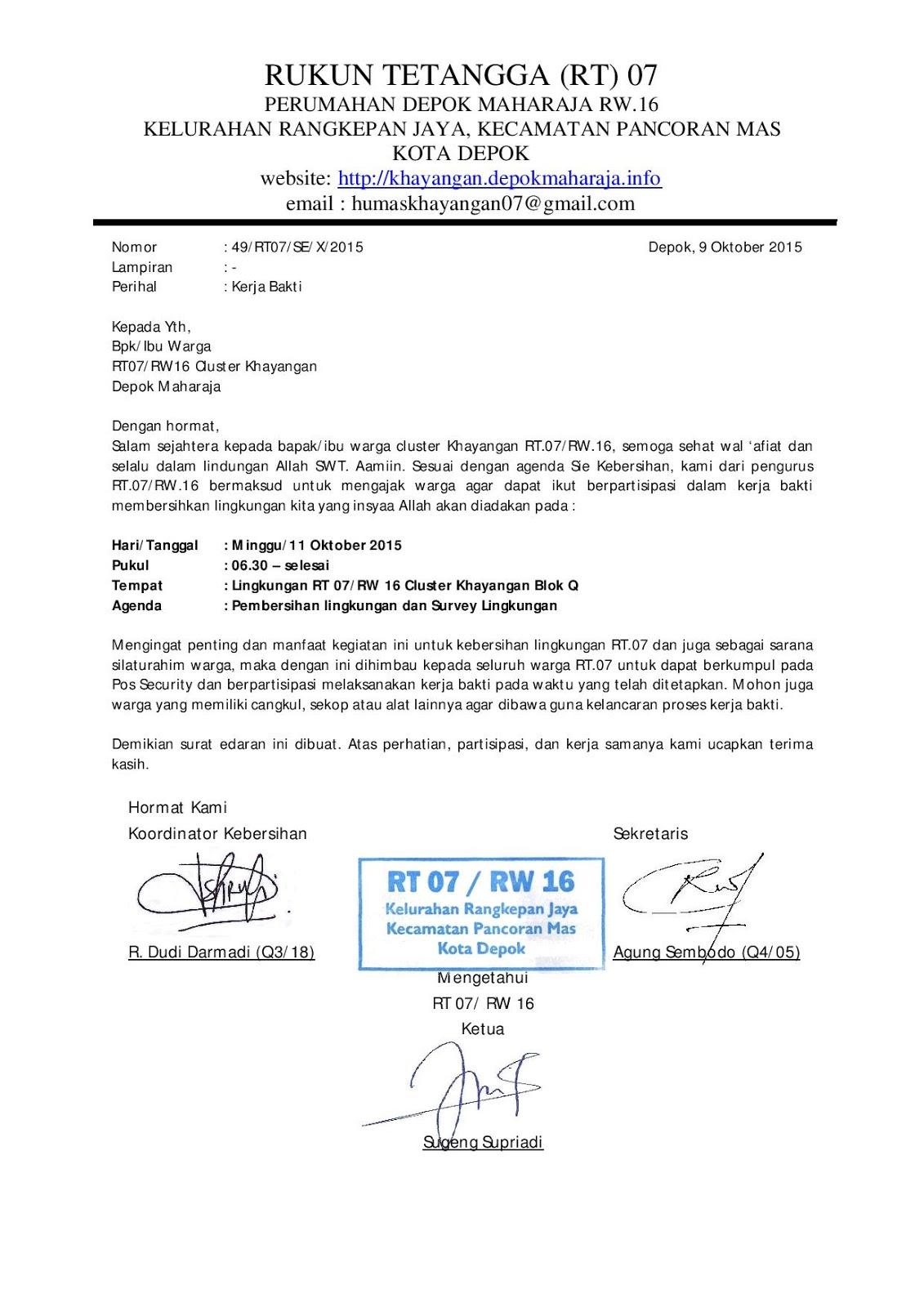 Undangan Kerja Bakti Hari Minggu Tanggal 11 Oktober 2015 Depok
