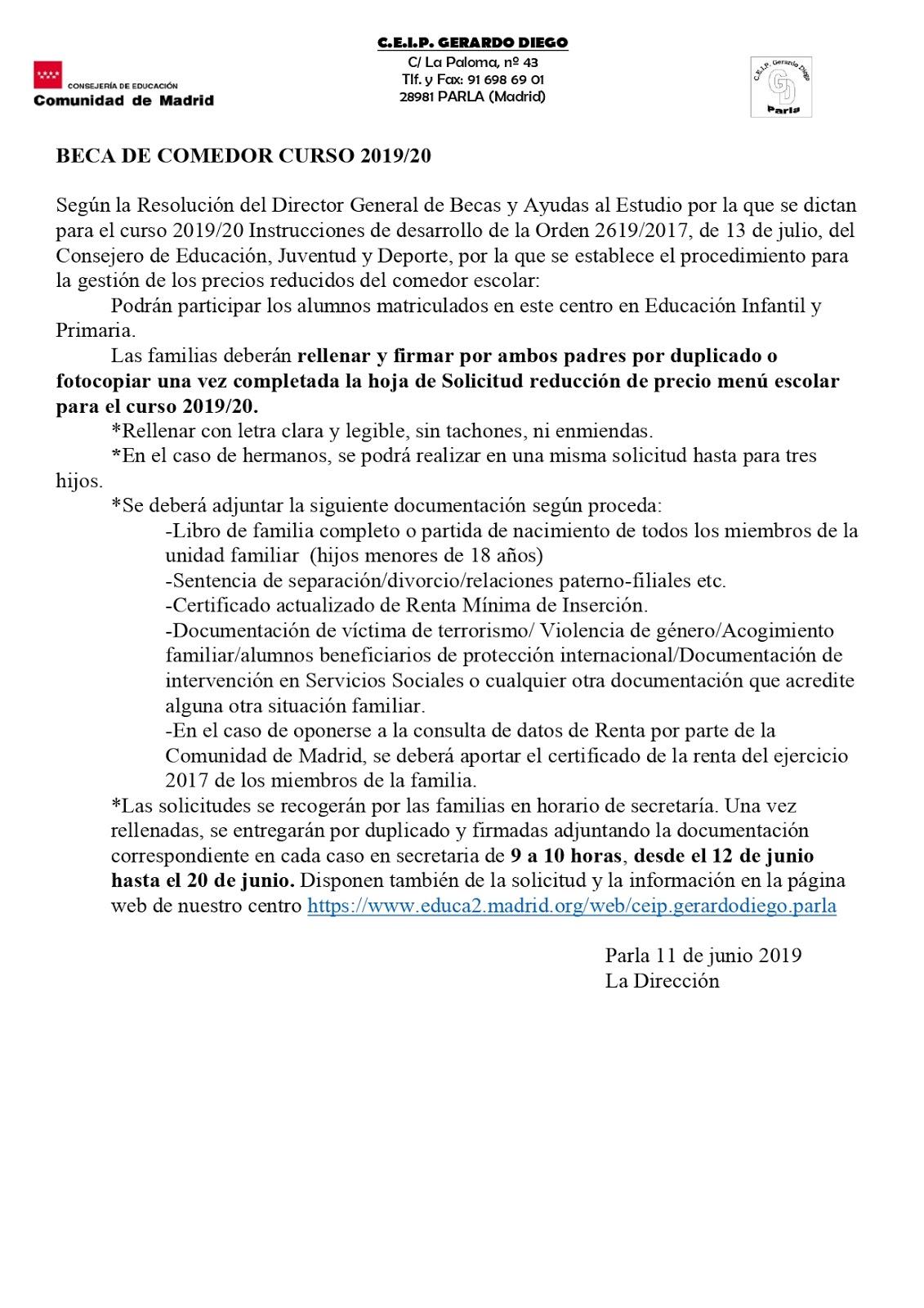 CEIP GERARDO DIEGO (PARLA): BECAS DE COMEDOR
