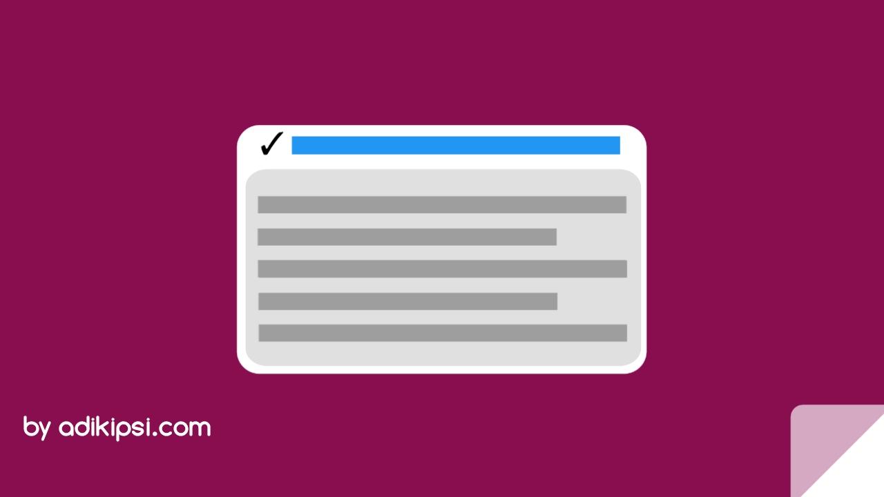 Cara Membuat Tanda Centang di Judul Blog Otomatis