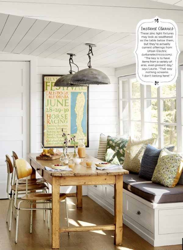 Flipping through this months country living magazine i spotted this cozy kitchen nook