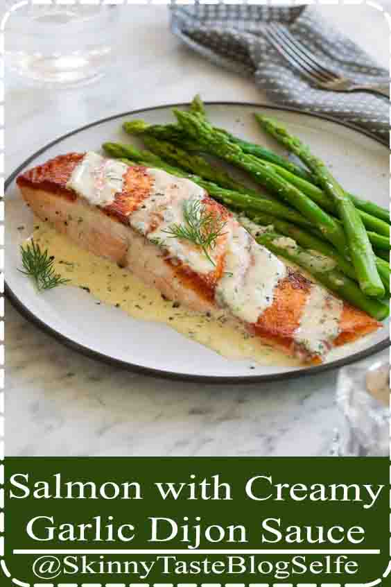 4.8 | ★★★★★ Salmon with Creamy Garlic Dijon Sauce - This is such a flavorful, elegant salmon recipe that anyone can pull of. It's comes together so quickly yet it's sure to impress anyone. Pan seared salmon is perfectly delicious on it's own but when you add a bright sauce like this it takes it to a whole new level! #salmon #recipe #pansearedsalmon #easydinner