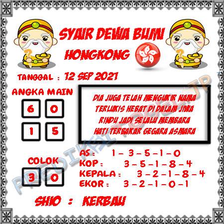 Syair Dewa Bumi HK Minggu 12-09-2021