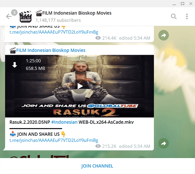 contoh film gratis di telegram
