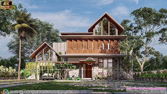Beautiful modern mixed roof green home