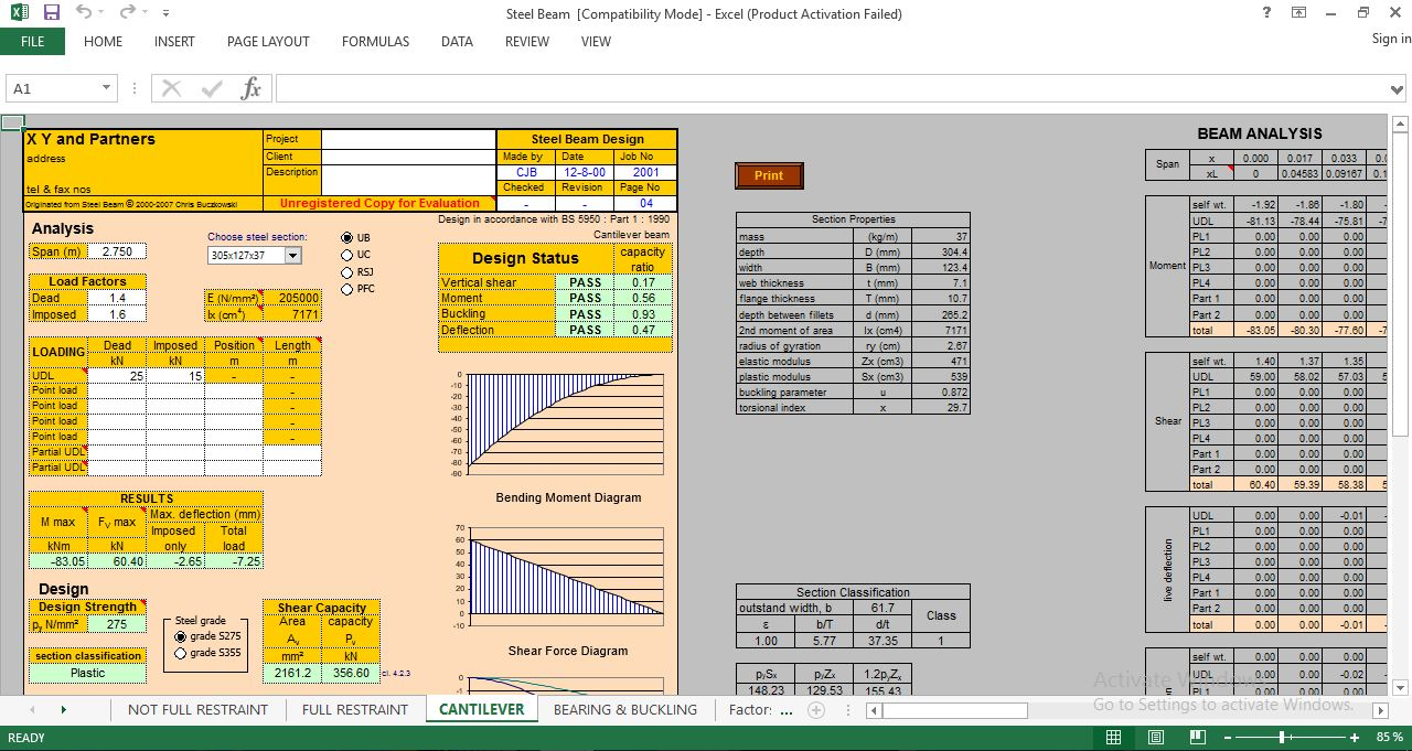 Download Steel Beam Design Spreadsheet