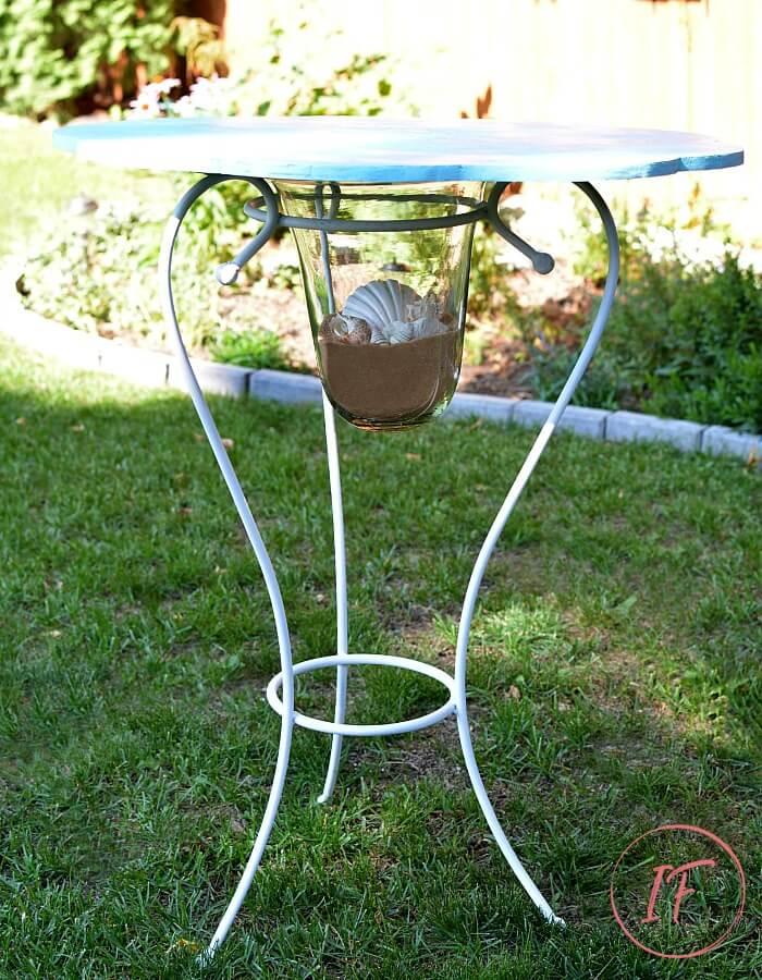 DIY Bistro CafeTable Hurricane Candle Base After
