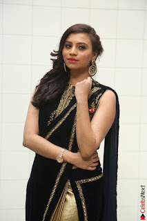 Priyanka Ramana in Beautiful Designer Black Saree At We Craft Elegance Expo Launch 038.JPG