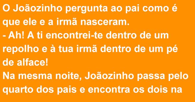 Joãozinho pergunta ao pai como nasceu