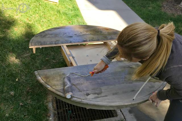 Before: Create weathered wood look in one step using #weatherwoodstains