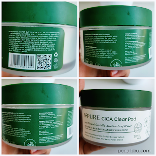npure cica clear pad ingredients