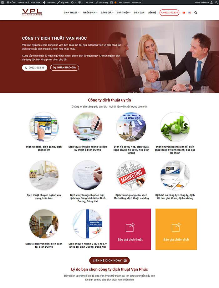 Mẫu website wordpres dịch thuật van phúc thiết kế chuẩn seo - Ảnh 1