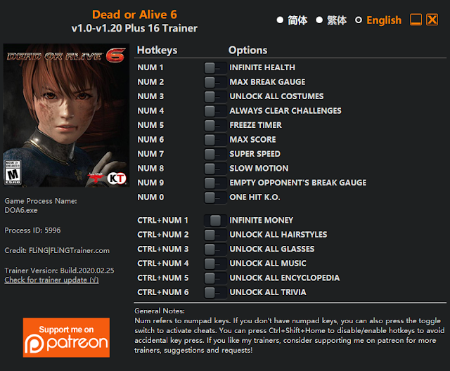 Tampilan Trainer Dead or Alive 6 PC