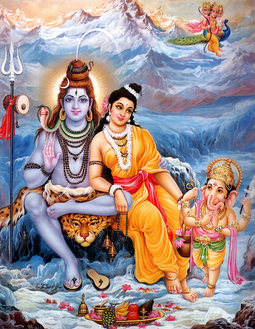 Shiva junto a Parvati, Ganesha y Skanda