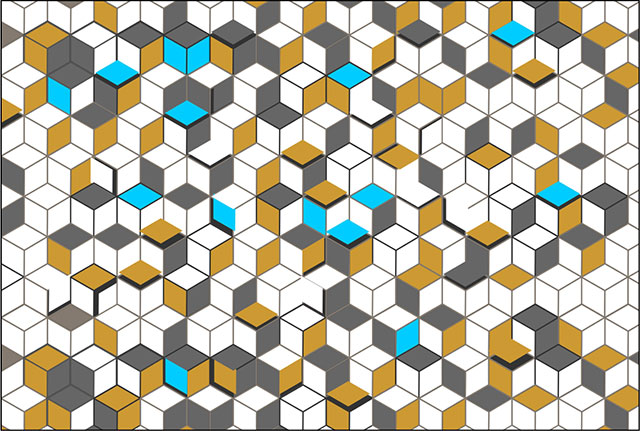 3D Wall Hexagon Abstract Background With Colorful Squares