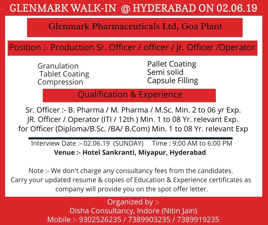 Glenmark Pharmaceuticals - Walk-In for Multiple Positions on
