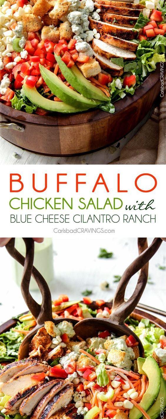 BUFFALO CHICKEN SALAD WITH BLUE CHEESE CILANTRO RANCH