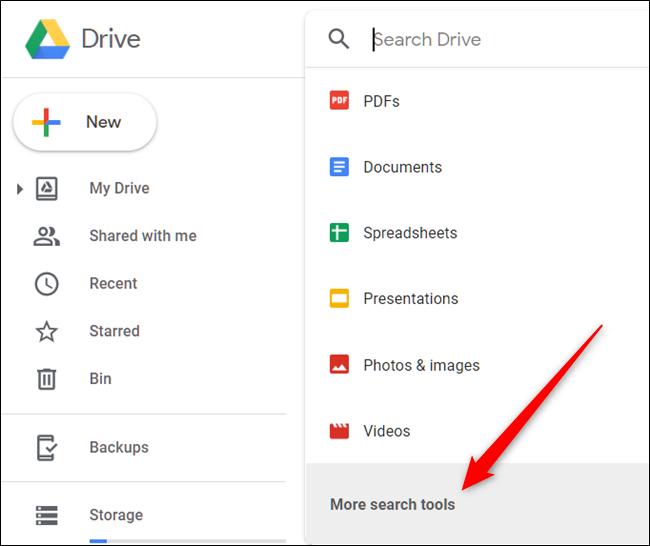 """انقر فوق مربع البحث ، ثم انقر فوق """"مزيد من أدوات البحث"""" لتحسين البحث أكثر."""