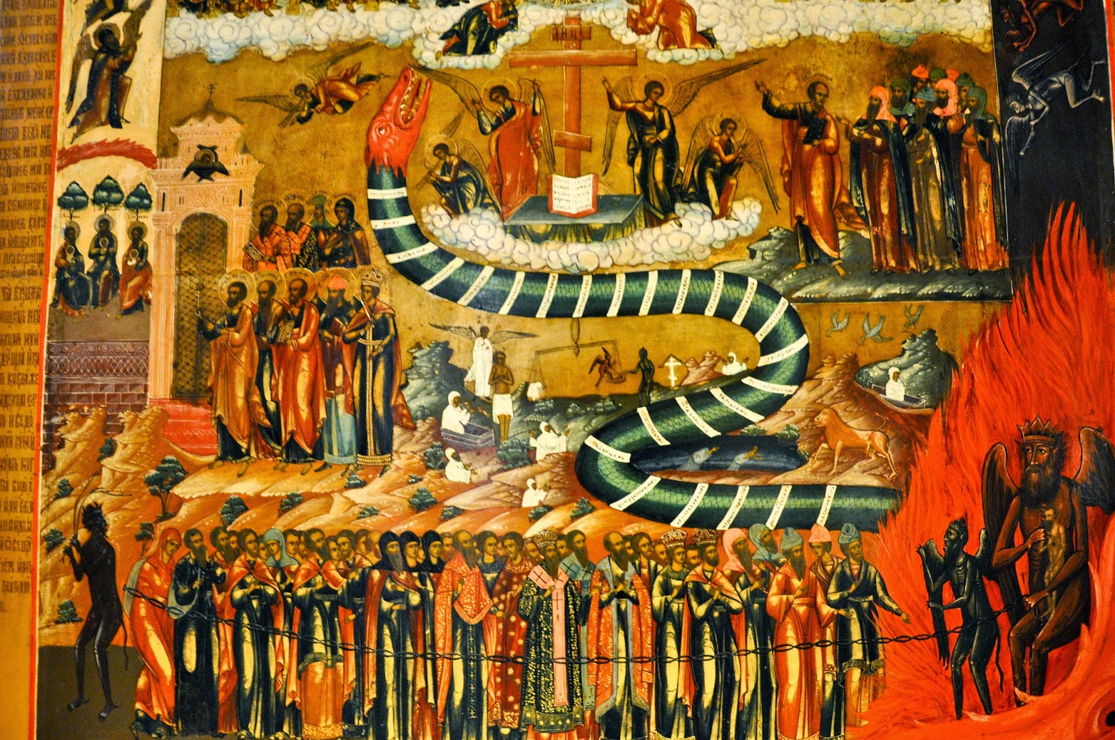 A detail of a Russian icon from the 19th century depicting the Last Judgment, Gallerie d'Italia, Palazzo Leoni Montanari, Vicenza, Italy