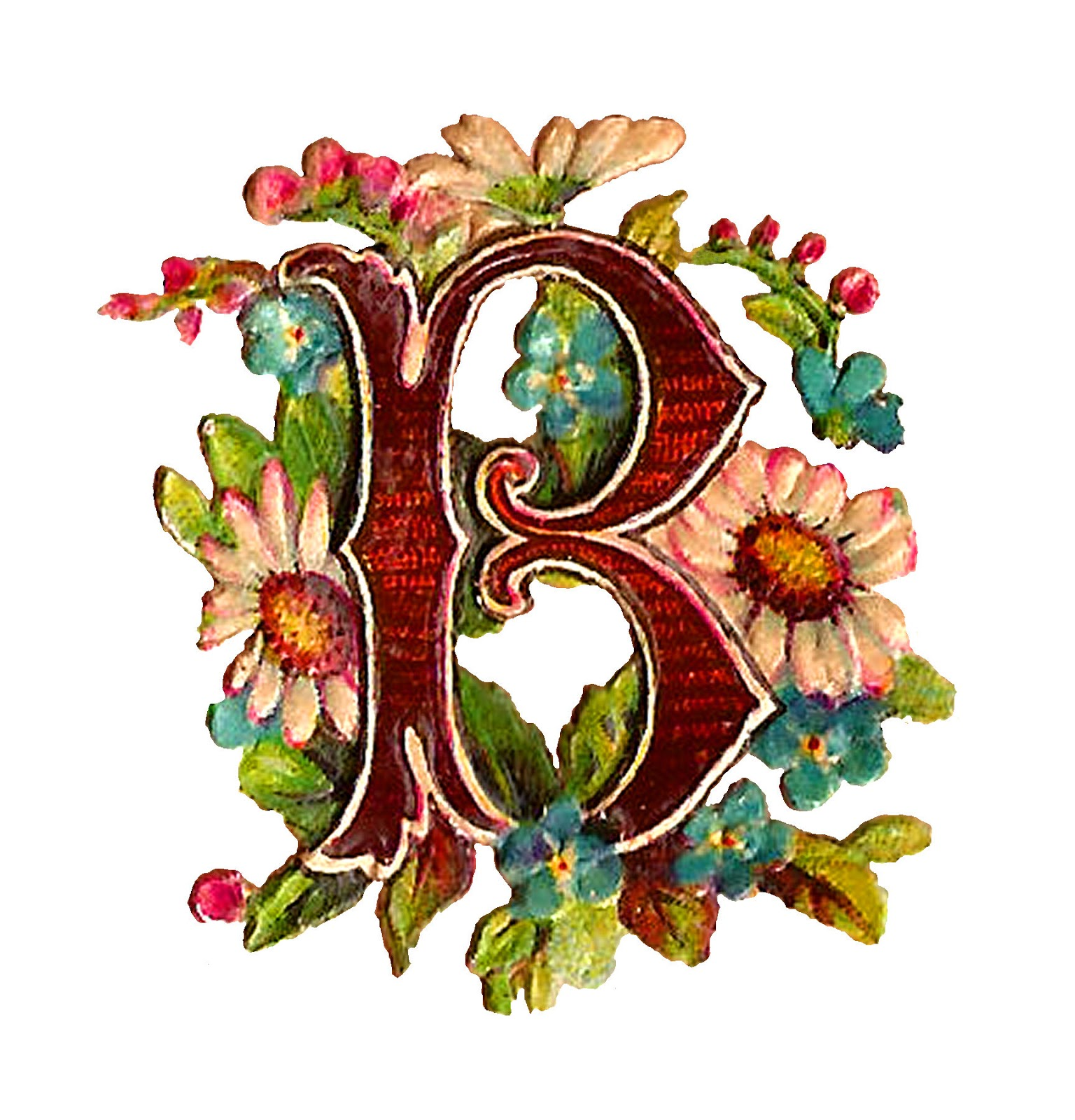 drop cap letter image crafting clipart floral design digital download [ 1536 x 1600 Pixel ]