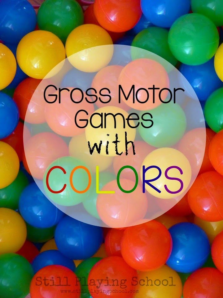 A ton of gross motor active play games for kids to learn colors! This is perfect for toddlers and preschool inside and outside!