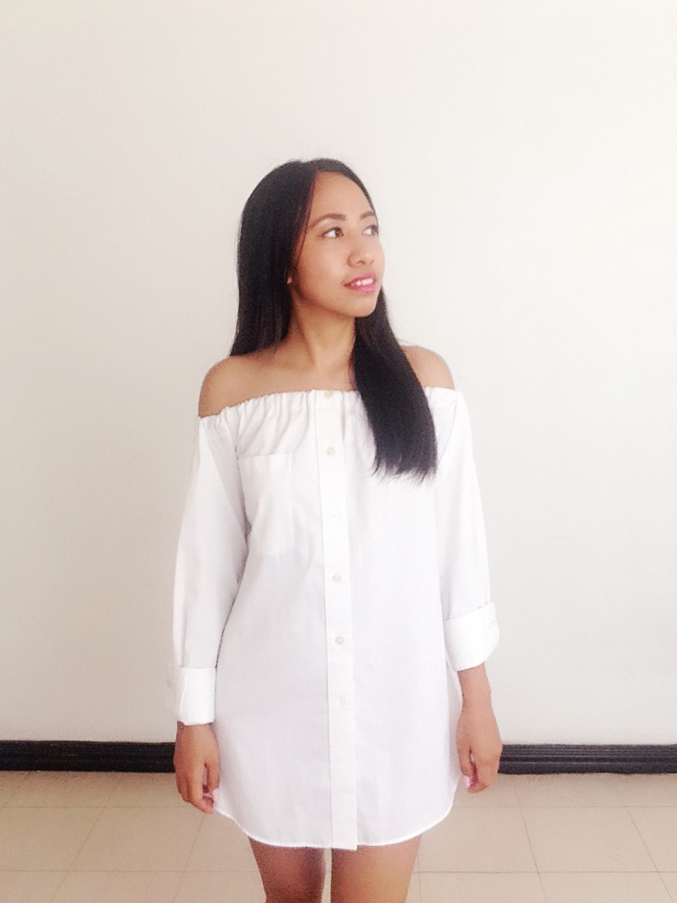 DIY Off-Shoulder Top from Your Boyfriend's Closet