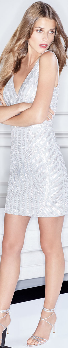 Jovani Beaded V-Neck Mini Sheath Cocktail Dress