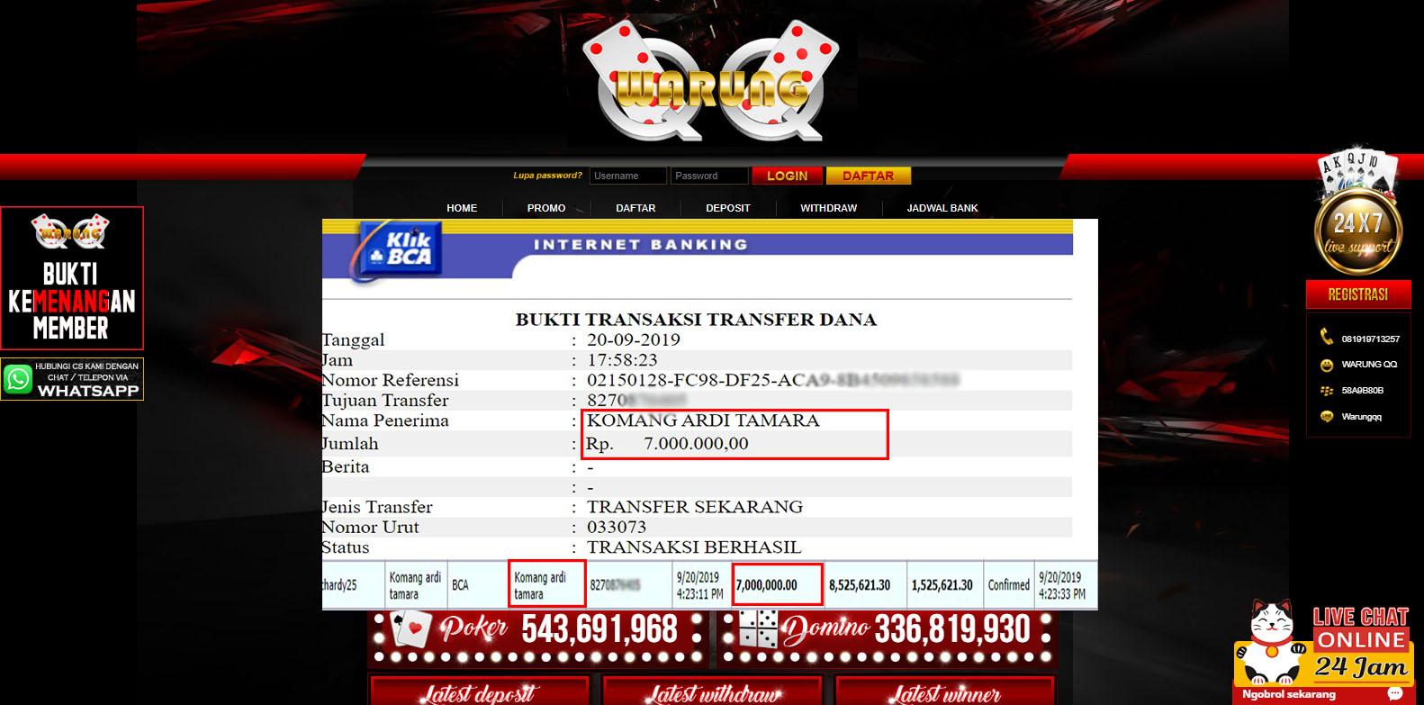 Selamat Kepada Member Setia WARUNGQQ Withdraw RP 7.000.000
