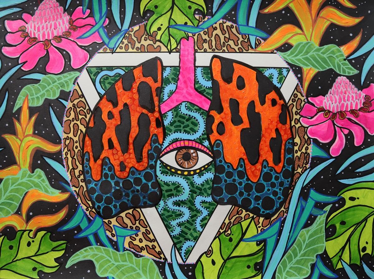 Amazon-Lá phổi của trái đất – tổng hợp trên giấy – 30x40cm – 2020 – Ciarna Hackett