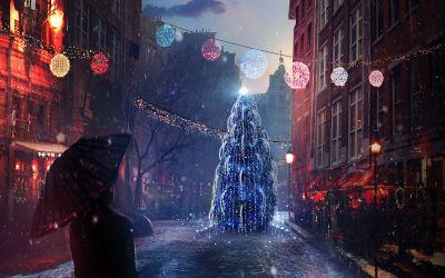 Noël Lumières d'Eve - Fond d'Écran en Quad HD 1440p