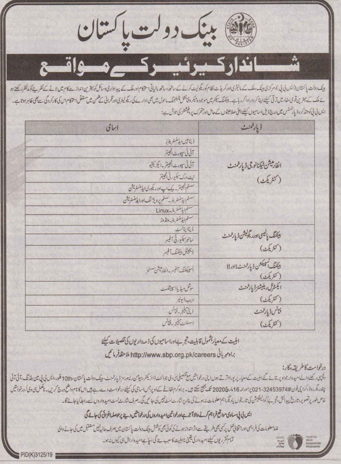 State Bank of Pakistan SBP Management Jobs 2020