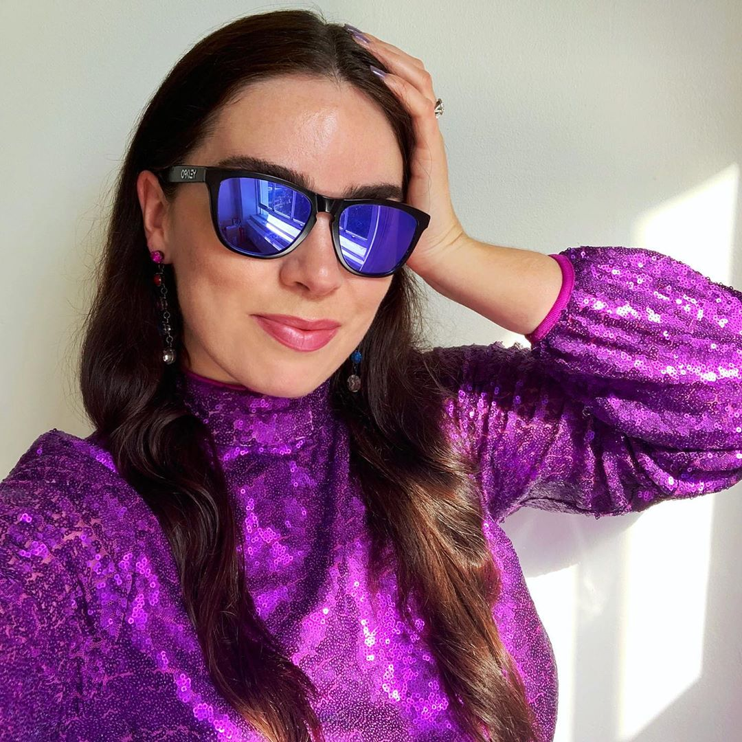 BRB, just going grocery shopping - purple sequin dress for the #InstaRainbowChallenge - Emma Louise Layla Berry, London style blog
