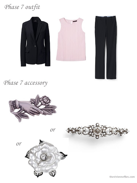 adding a brooch to a 4 by 4 dressy wardrobe in black, pink and taupe