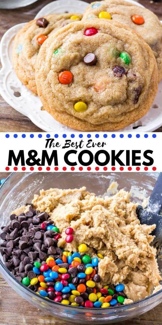 Soft & Chewy M&M Cookies #soft #chewy #cookies #ccookiercipes #bestcookies