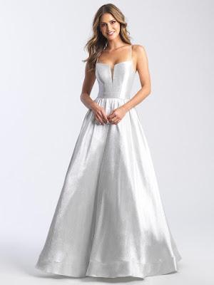 Scoop neckline Madison James prom dress Silver color