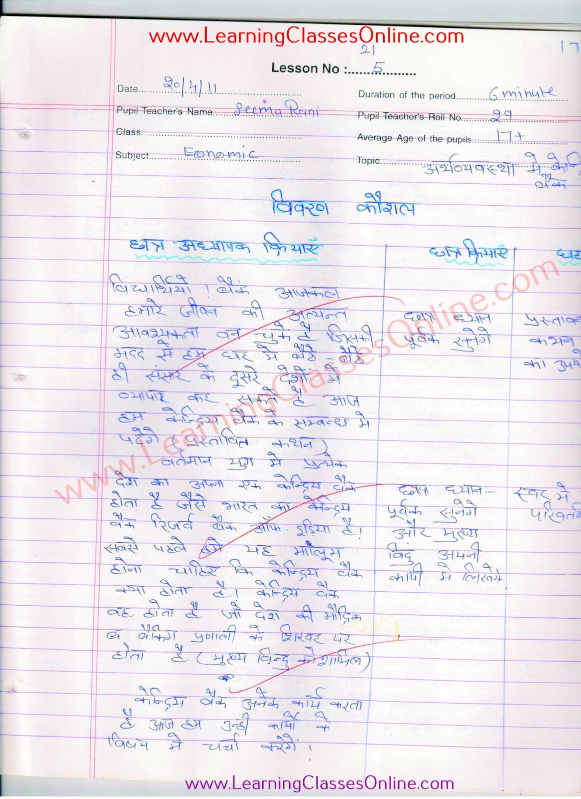 economics lesson plan on bank in hindi for class 10