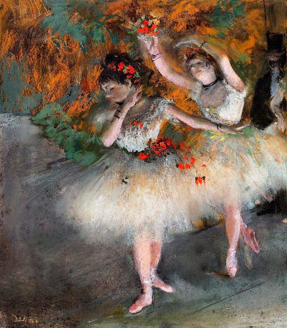 Эдгар Дега - Две танцовщицы, выходящие на сцену (1877-1878)